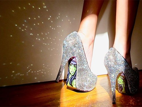 Taylor Says by Taylor Reeve painted sole rhinestone studded pumps