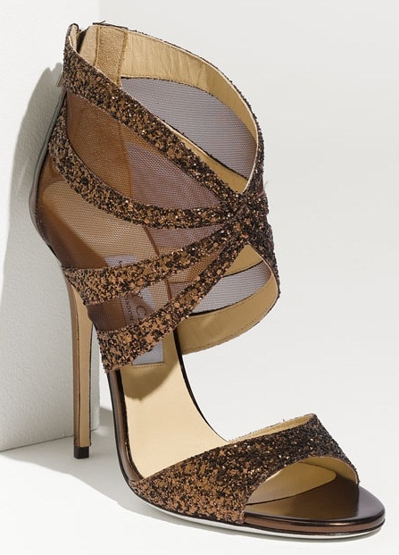 Jimmy Choo Leila Mesh Sandals in Bronze