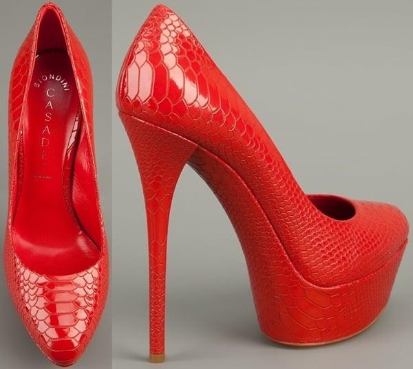 Red Casadei Python Skin Pumps