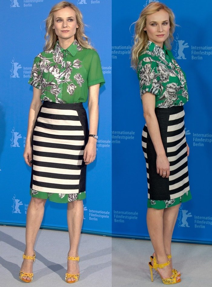 Diane Kruger flashed her legs in a playful dress