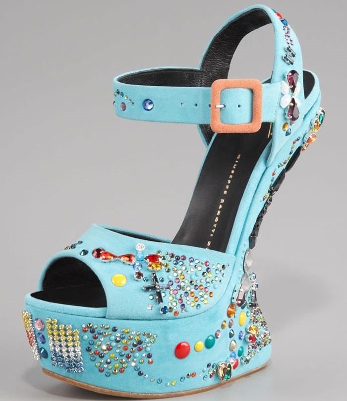 Giuseppe Zanotti No Heel Crystal Studded Sandals