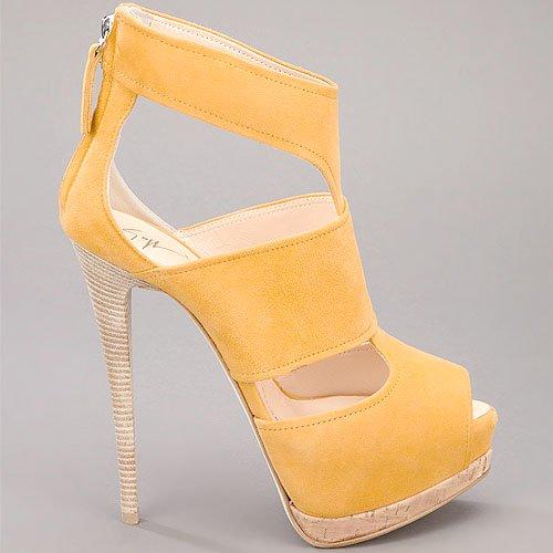 Suede t-strap platform sandalin mustard yellow