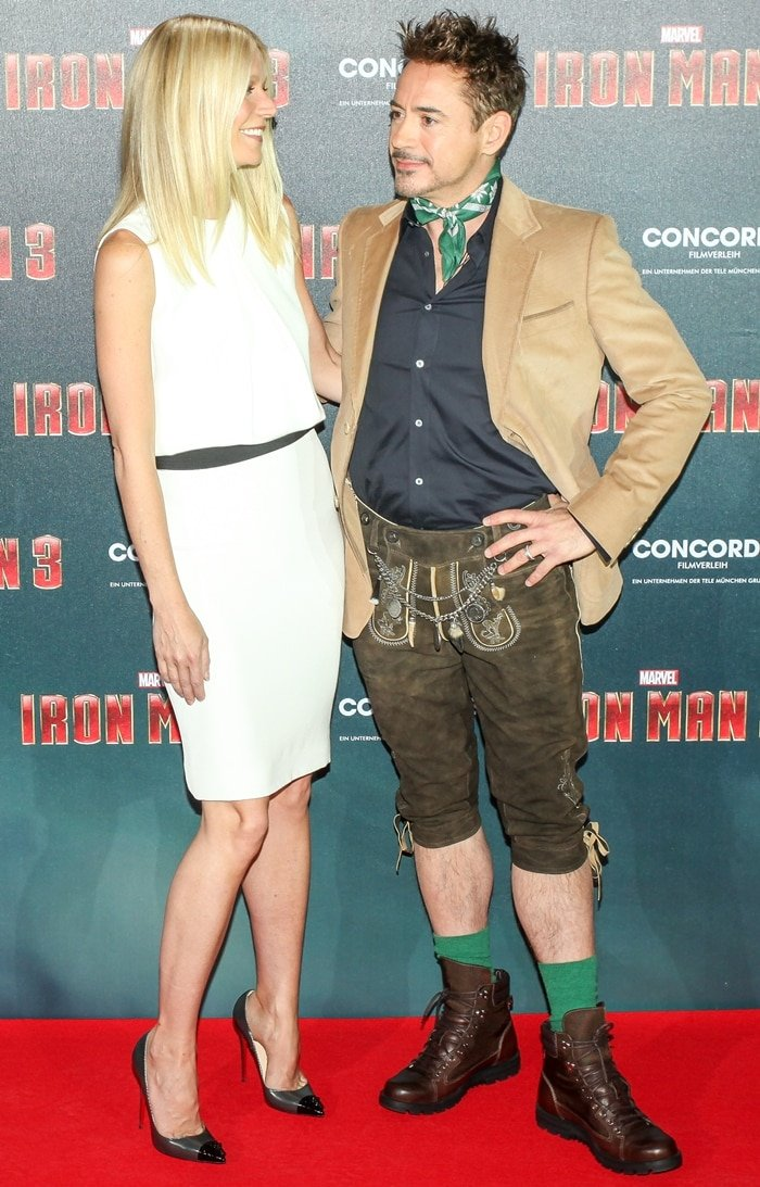 Robert Downey Jr. wore platform boots to make the height difference less noticeable at an Iron Man 3 photocall with Gwyneth Paltrow