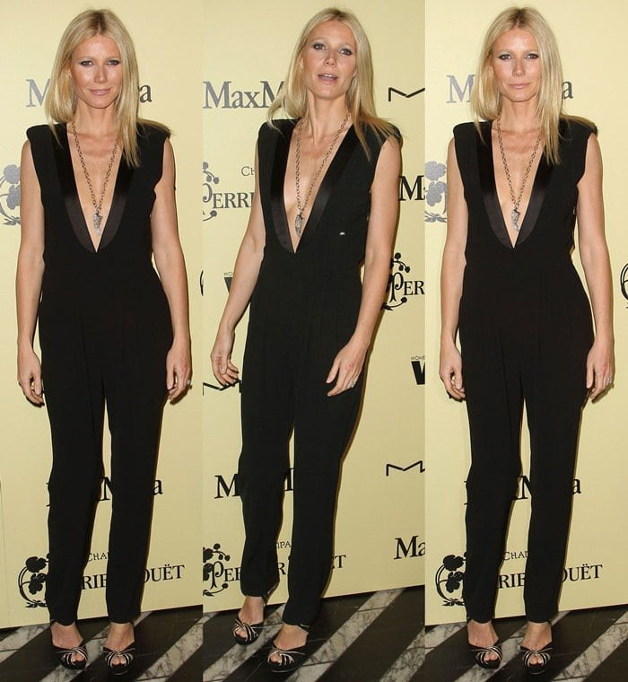 Gwyneth Paltrow flaunted her statuesque figure in a black Boy by Band of Outsiders Fall 2012 jumpsuit