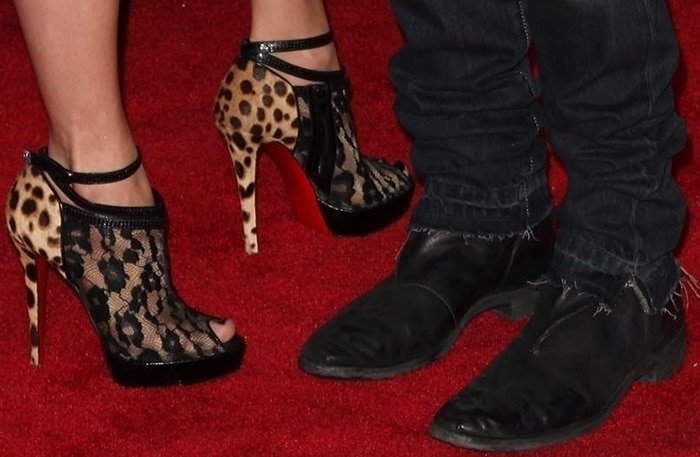 Jennifer Lopez's feet in leopard-and-lace Christian Louboutin booties