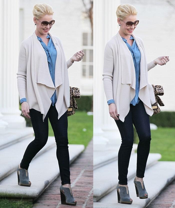 Katherine Heigl rocks a draped cardigan, top, and skinnies