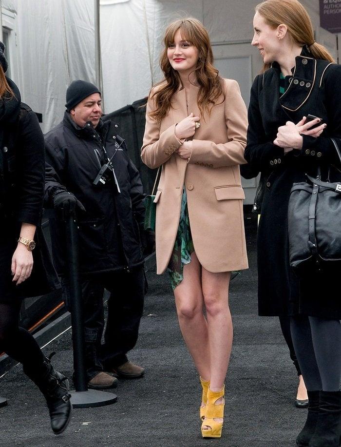 Leighton Meester wearing aStella McCartney Fall 2010 wool-blend flannel coat