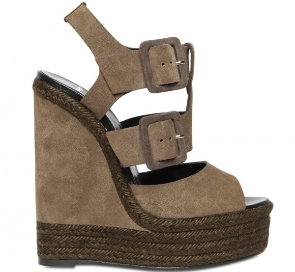 Pierre Hardy Khaki 150mm Suede Buckled Sandal Wedges