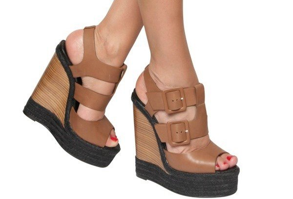 Pierre Hardy Leather Buckled Sandal Wedge Model