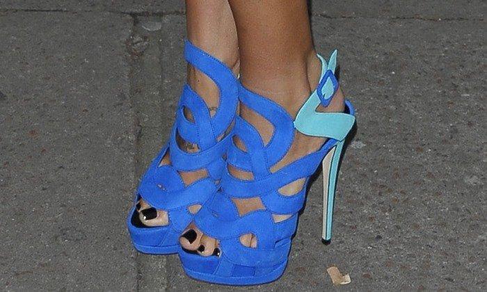 Tamara Ecclestone wearing blue Giuseppe Zanotti sandals