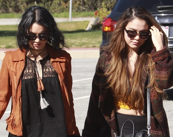 Filipino actresses Vanessa Hudgens and her sister Stella arrive at Forest Lawn Memorial Park