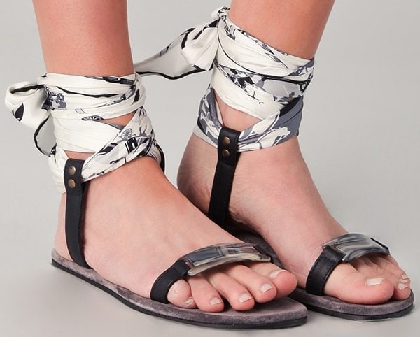 99dd7d1a23f Lovely Silk Scarf Ankle Wrap Sandals from Avec Moderation