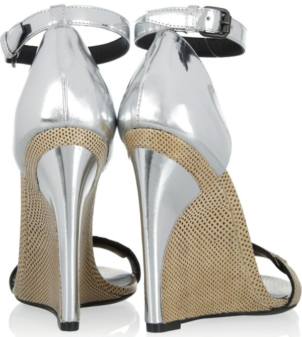 Bottega Veneta Karung and Metallic Leather Sandals Back