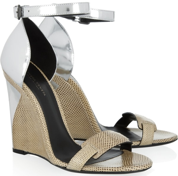 Bottega Veneta Karung and Metallic Leather Sandals