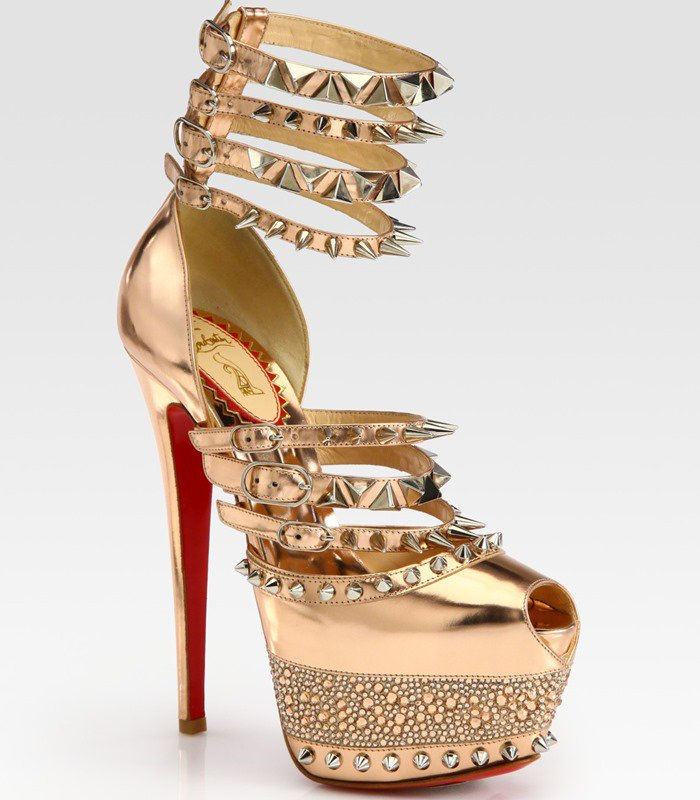 Christian Louboutin Gold Isolde Studded Metallic Leather Platform Sandals