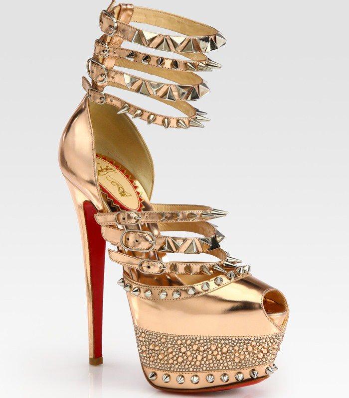 Christian Louboutin Gold Isolde Studded Metallic Leather Platform Sandals