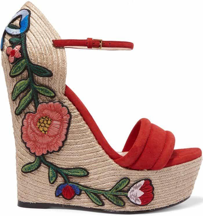 Gucci Appliquéd Suede Wedge Espadrille Sandals