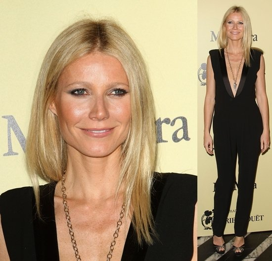 Gwyneth Paltrow in a Boy by Band of Outsiders black jumpsuit