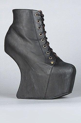 Jeffrey Campbell Night Lita heel-less lace-up platform boots in distressed black