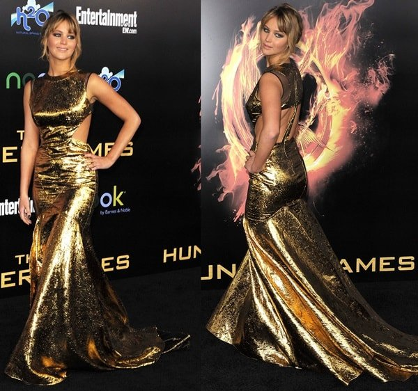 Jennifer Lawrence in a show-stopping gold lame gown from Prabal Gurung's Fall 2012 collection