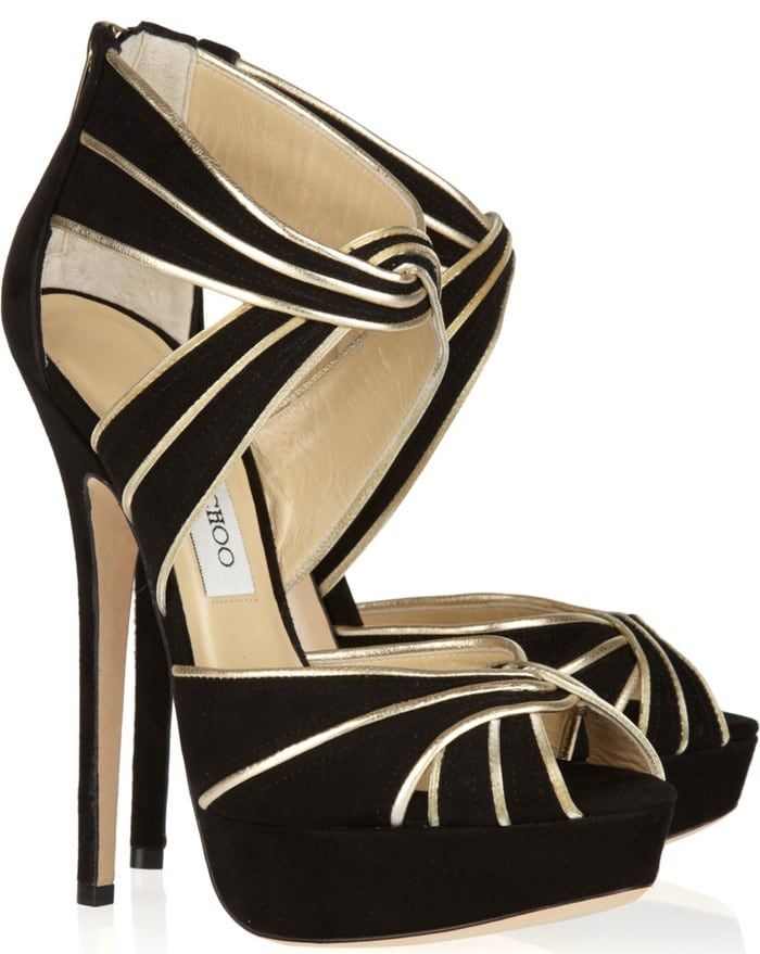 Jimmy Choo Black Koko Metallic Leather and Suede Sandals