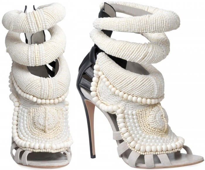 Kanye West By Giuseppe Zanotti White 115mm Kanye All Over Beads Sandals