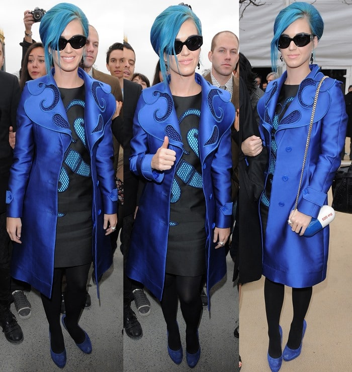 Katy Perry shows off an all-blue outfit — hair included! — during Paris Fashion Week