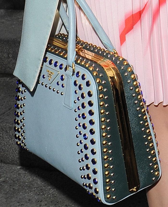 Katy Perry'sbaby blue studded handbag