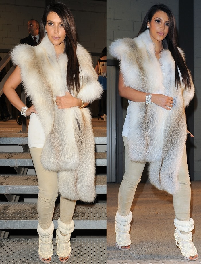 Kim Kardashian attends the Kanye West Ready-To-Wear Fall/Winter 2012 show as part of Paris Fashion Week at Halle Freyssinet in Paris, France, on March 6, 2012