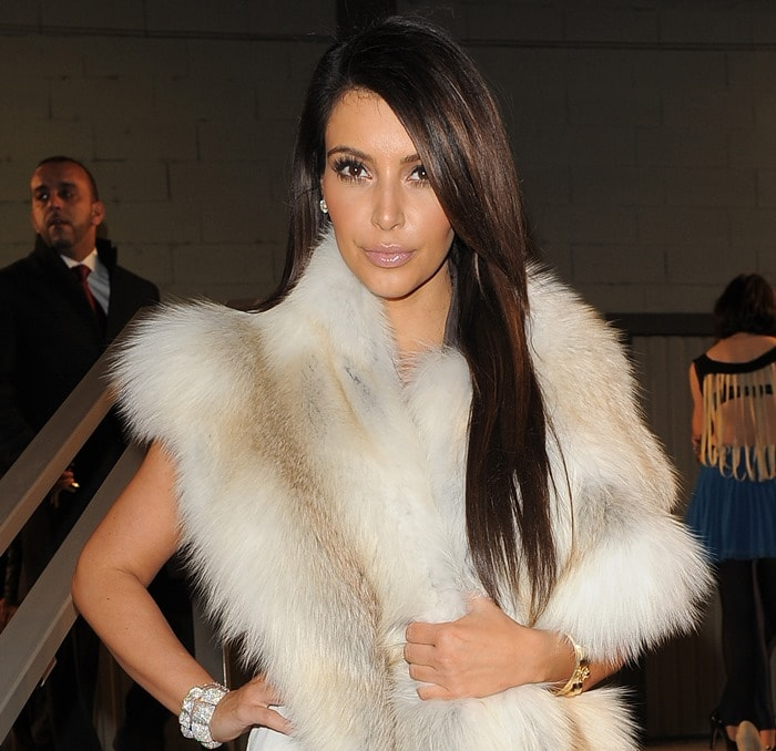 Kim Kardashian supported her husband, Kanye West, whopresented the second full ready-to-wear collection from his eponymous fashion line