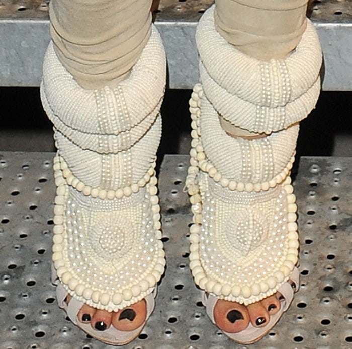Kim Kardashian's toes in fugly Giuseppe Zanotti heels made of calf leather and embroidered pearls