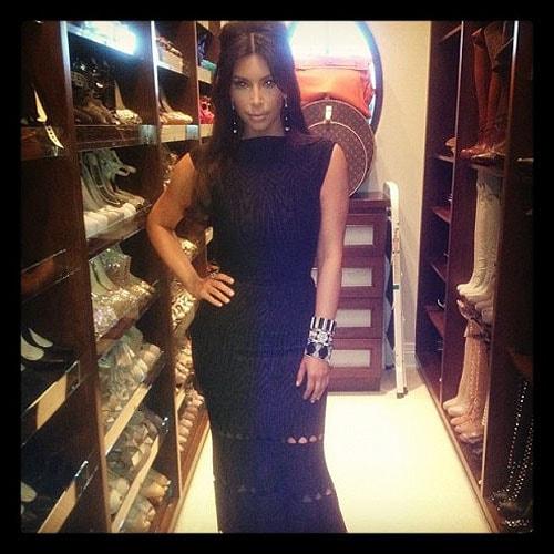 Kim Kardashian showing off her shoe closet