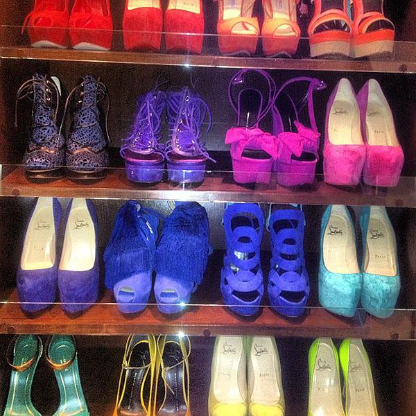 "Kim Kardashian's shoe closet - ""Rainbow brights"""