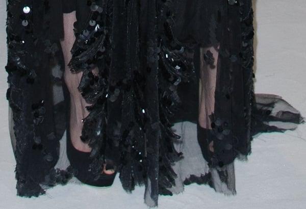Kristen Stewart wearing black peep-toe stilettos by Jimmy Choo