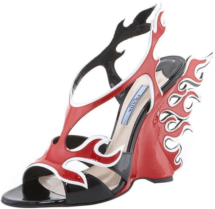 Prada Flame Wedge Sandal