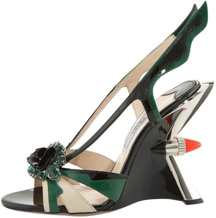 Prada Jeweled Taillight Flame Wedge Sandal in Green
