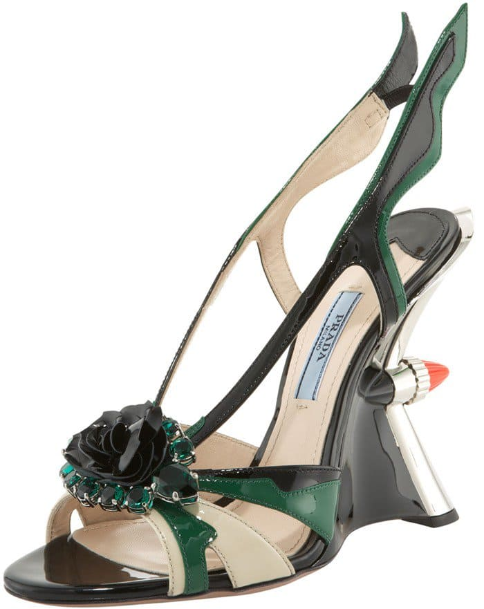 Prada Jeweled Taillight Flame Wedge Sandals in Green