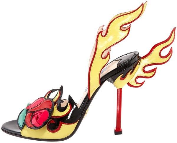 Prada rose toe flame sandal