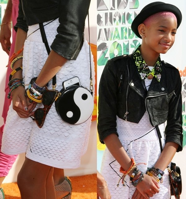 Willow Smithin a Chanel Spring 2012 white dress paired with a wide variety of accessories