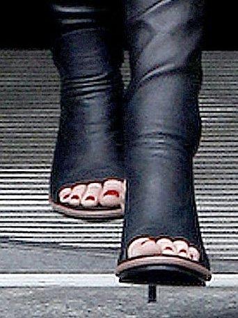 Kristen Stewart wearing Balenciaga glove sandals