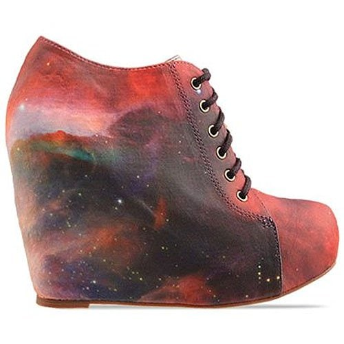 Black Milk X Jeffrey Campbell '99 Tie' lace-up wedge in Rainbow Galaxy
