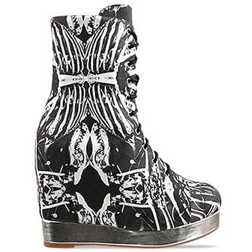 Black Milk X Jeffrey Campbell 'Back Off' lace-up wedge boot in Bone Machine