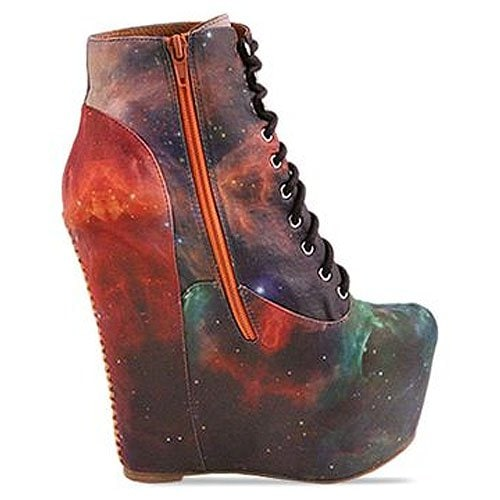 Black Milk X Jeffrey Campbell 'Damsel' wedge bootie in Rainbow Galaxy
