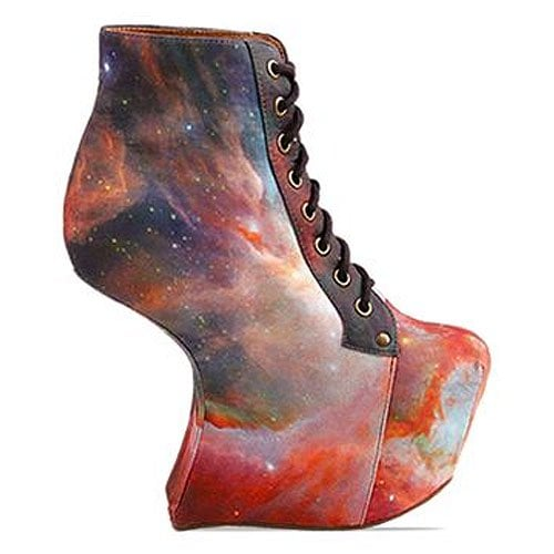Black Milk X Jeffrey Campbell 'Night Lita' heel-less lace-up boot in Rainbow Galaxy