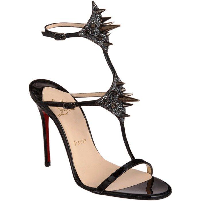 Black 'Lady Max' Spike T-Strap Sandals