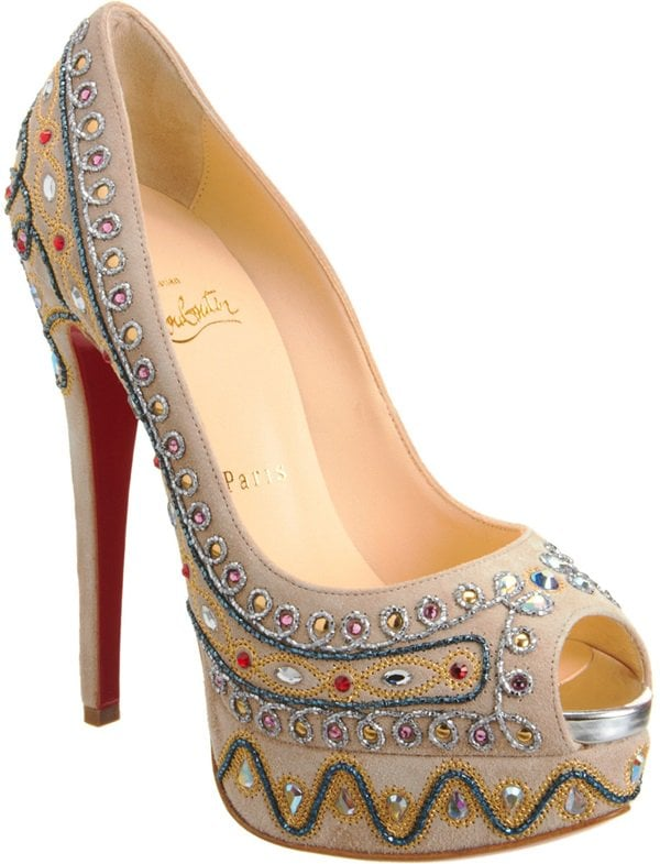 Taupe Christian Louboutin 'Bollywoody' Suede Peep-Toe Pump