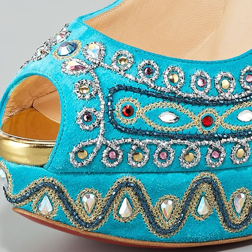 Turquoise Christian Louboutin 'Bollywoody' Suede Peep-Toe Pump