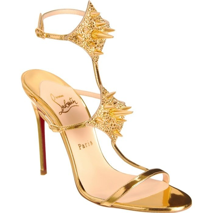 Gold 'Lady Max' Spike T-Strap Sandals