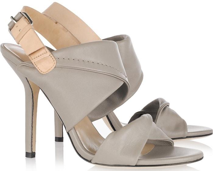 Diane Von Furstenberg Beige Sinead Two-Tone Leather Sandals