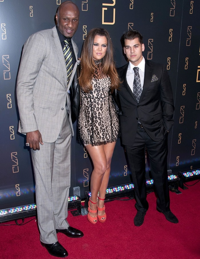 Khloe Kardashian, Lamar Odom, and Rob Kardashian at the RYU Restaurant Grand Opening in New York City on April 23, 2012